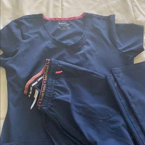 Navy Blue Heart Soul Scrubs XS Set